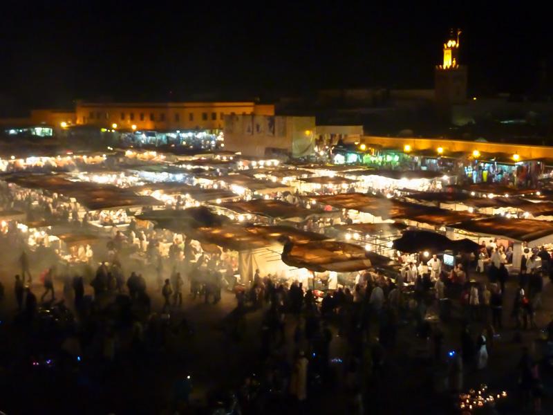 Marocco Marrakesh Jamaa el Fna luci