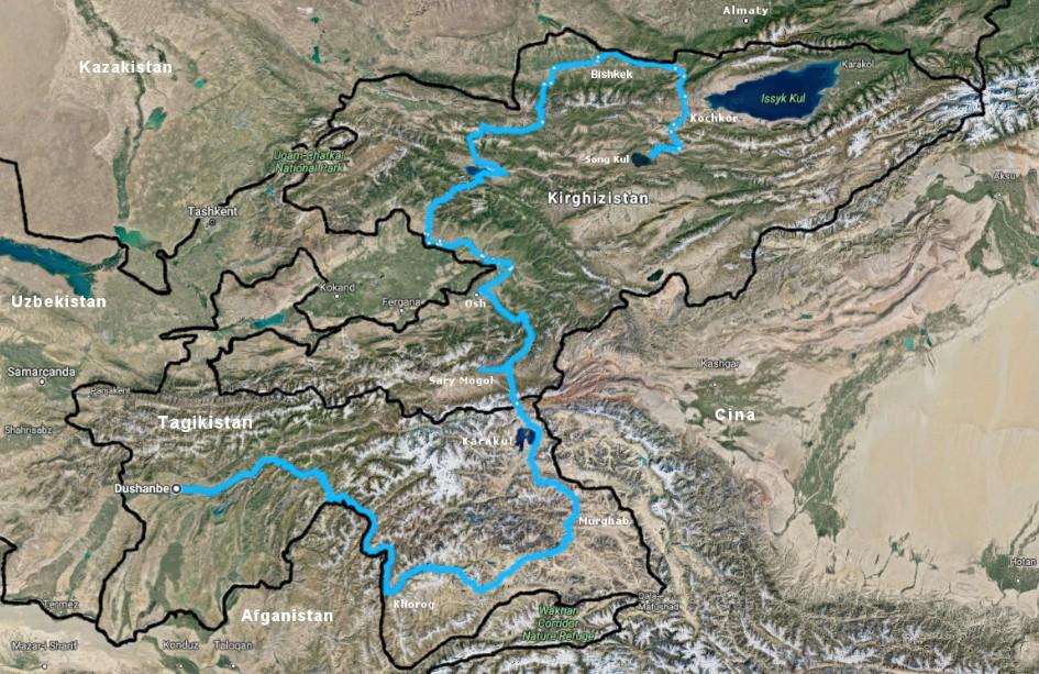 Mappa viaggio Pamir Highway Via della Seta