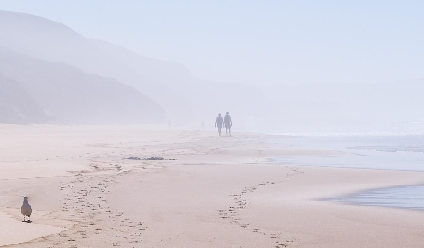 Rota Vicentina cammino a piedi Portogallo sentiero dei pescatori nebbia