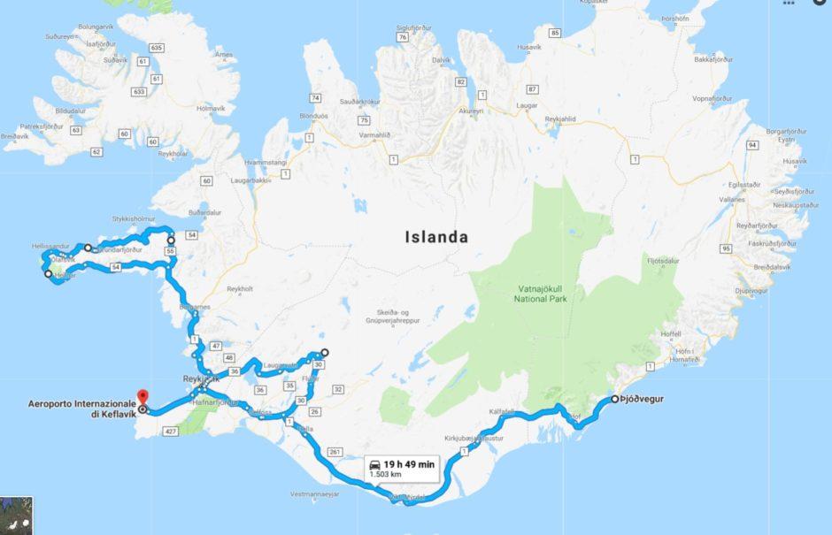 itinerario invernale islanda auto a noleggio