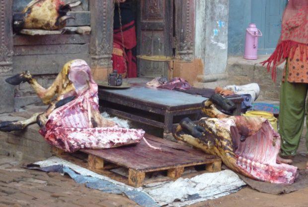 kathmandu macellaio strada