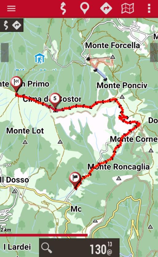 monte san primo traccia GPS ciaspole dal Pian del Tivano