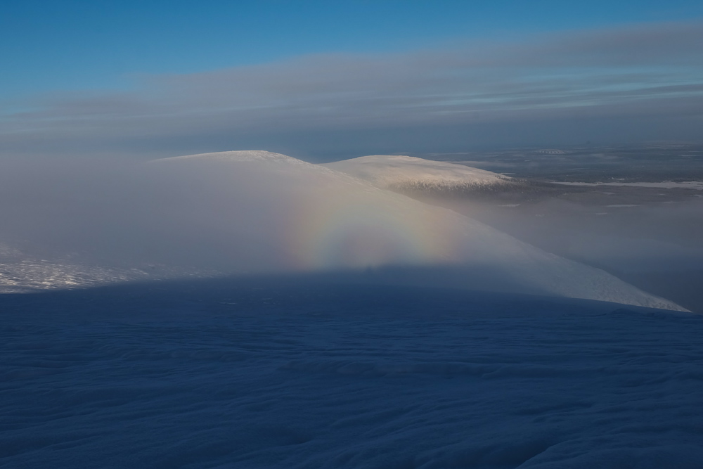 neve arcobaleno viaggio inverno lapponia pallas yllastunturi