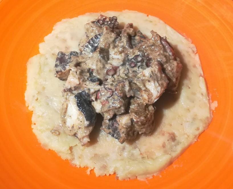 ricetta gourmet polpo con crema di pistacchi peperoncino habanero scorza di limone e base patate