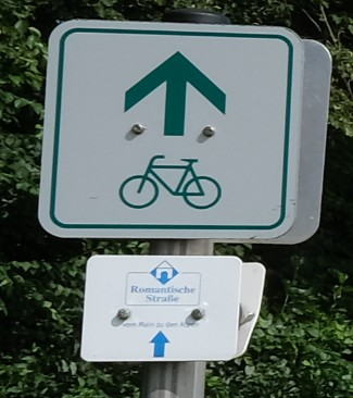 strada romantica bicicletta baviera cartello pista ciclabile