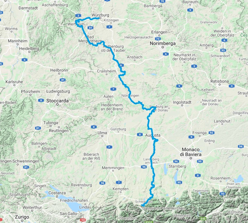 strada romantica bicicletta baviera mappa