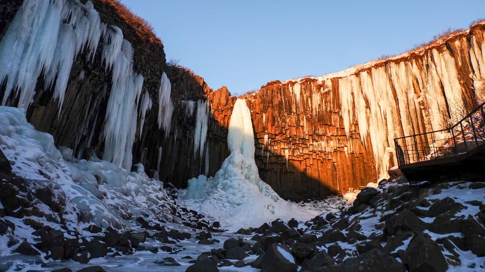 viaggio in Islanda Svartifoss inverno