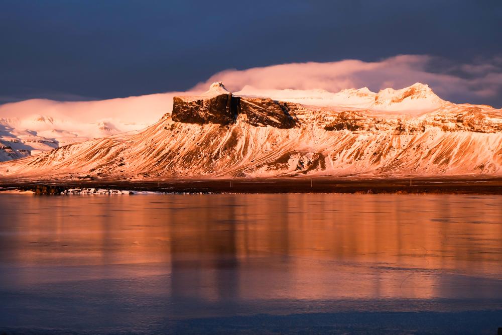 Islanda inverno scoglio ghiaccio